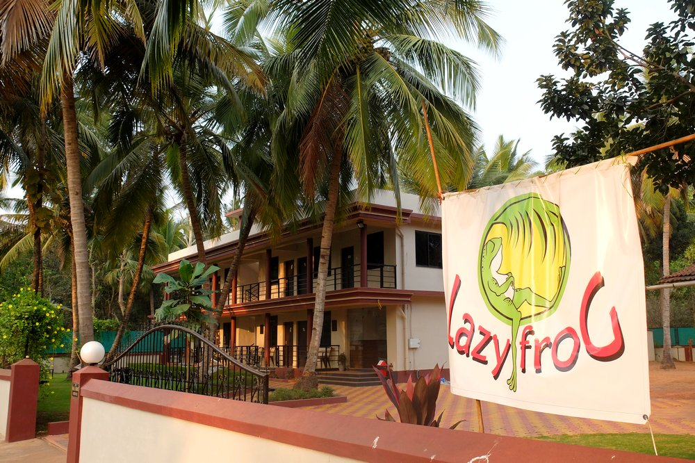 The front entrance of the Lazy Frog Goa budget hotel - Goa, India