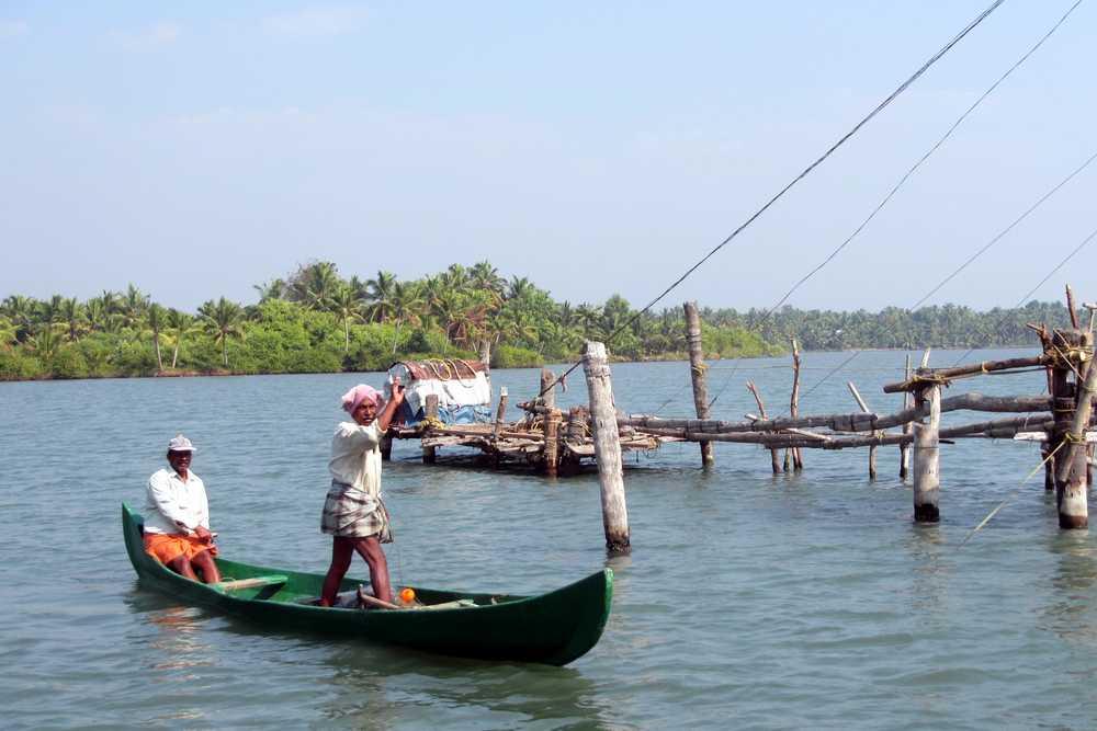 Fishermen - Kerala backwaters, India