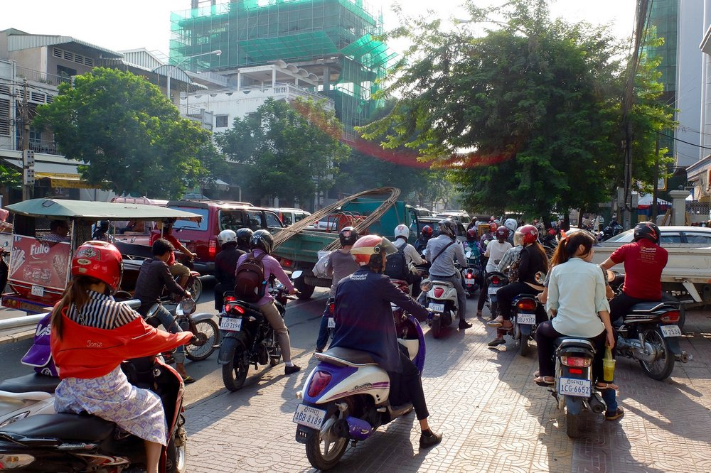 Traffic in Phnom Penh, Cambodia - first trip to Southeast Asia
