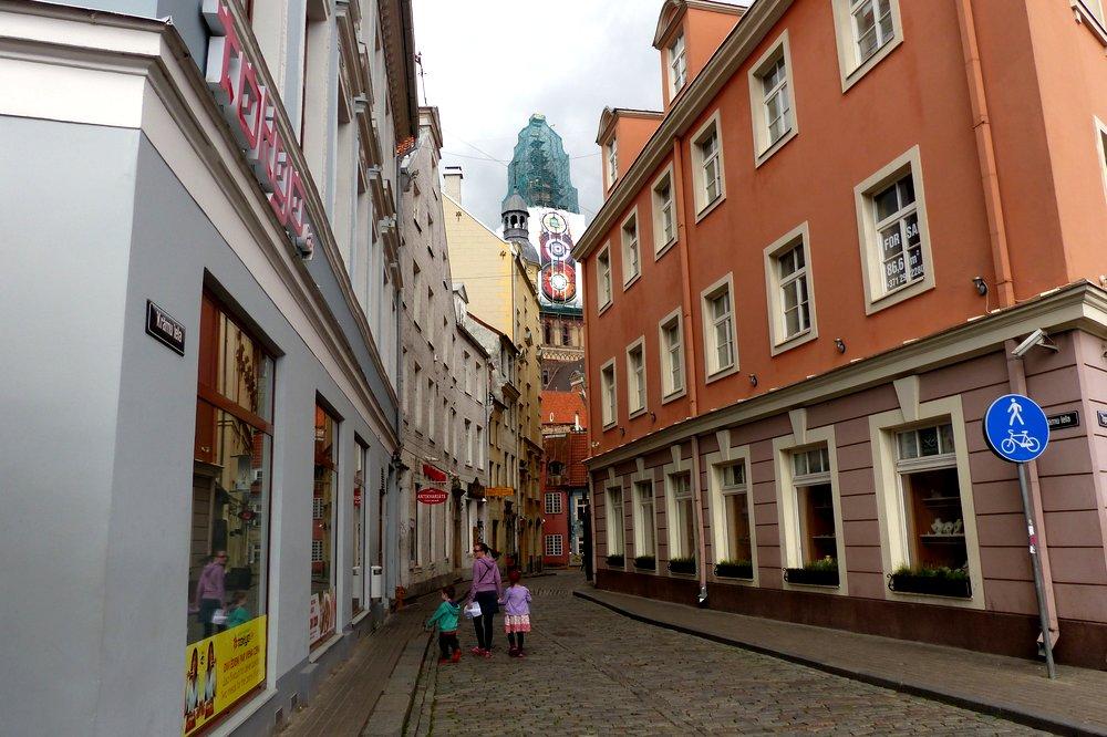 Sharon and her kids walking around Riga, Latvia