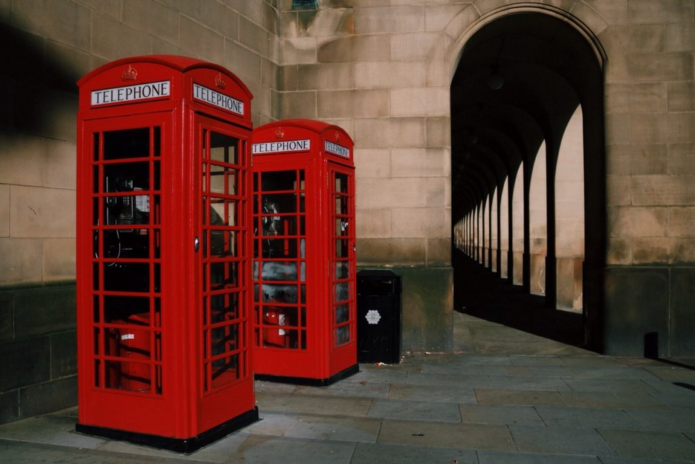 English typical phone booths in Manchester