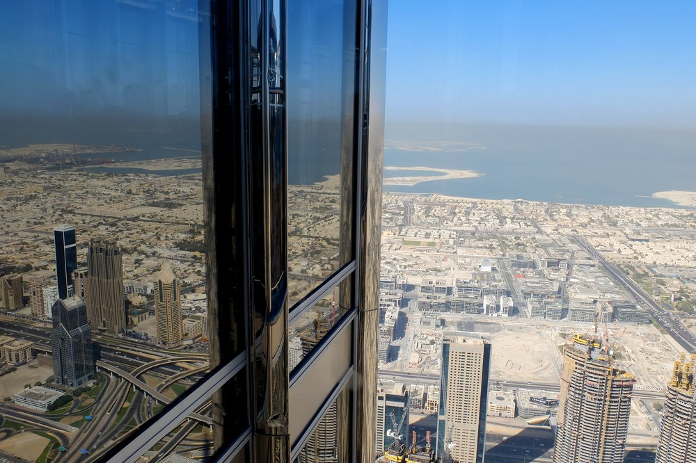 Looking down from an observation deck of Burj Khalifa - Stopover in Dubai