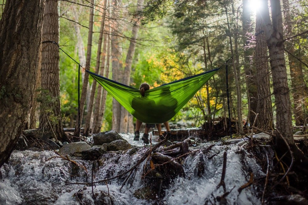 Camping with a hammock