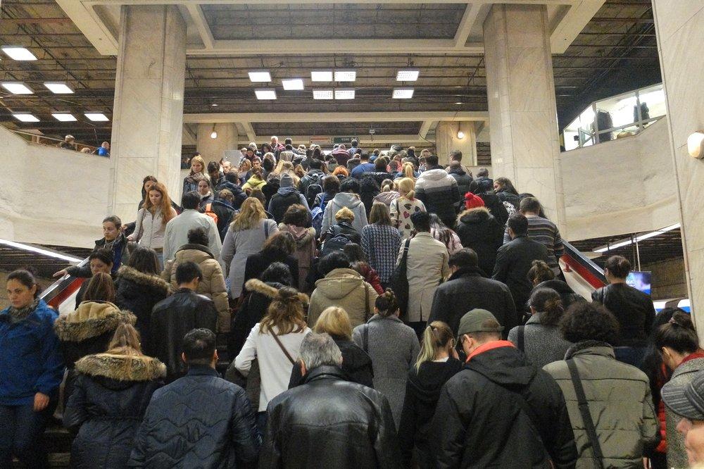 Metro in Bucharest during rush hour