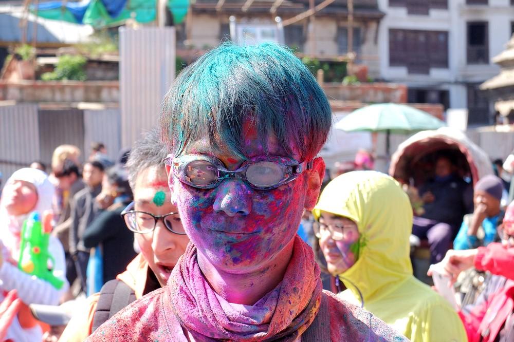 A guy with glasses - Kathmandu - Holi in Nepal