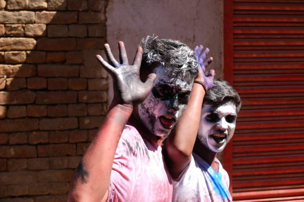 Guys with black faces - Kathmandu - Holi in Nepal