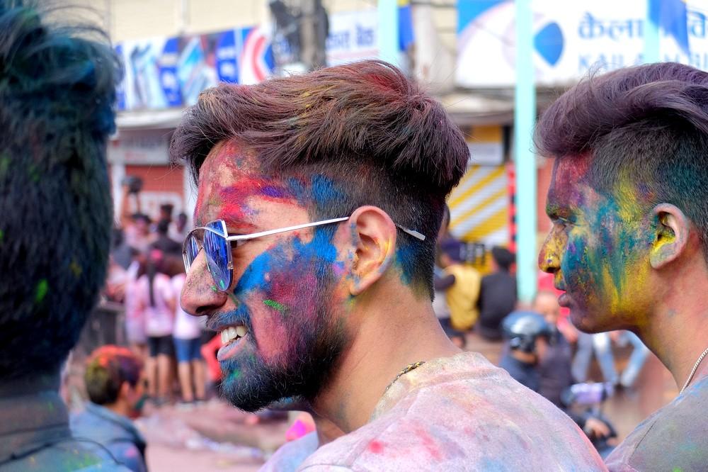 Indian guy - Kathmandu - Holi in Nepal