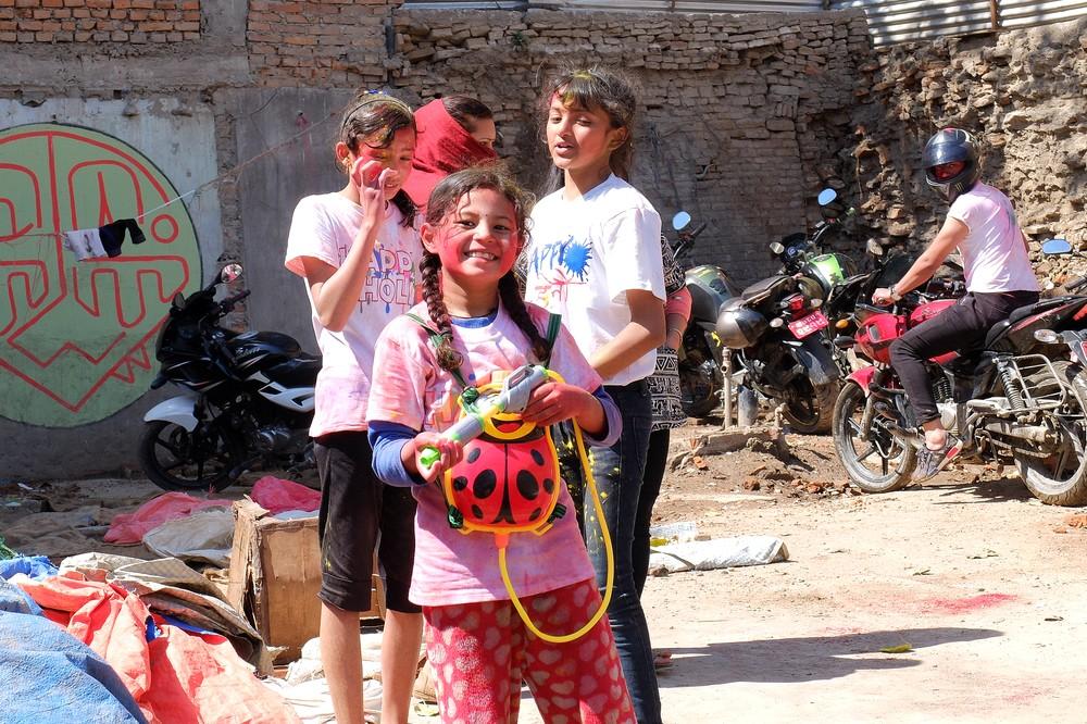 Kids during Holi festival - Kathmandu - Holi in Nepal