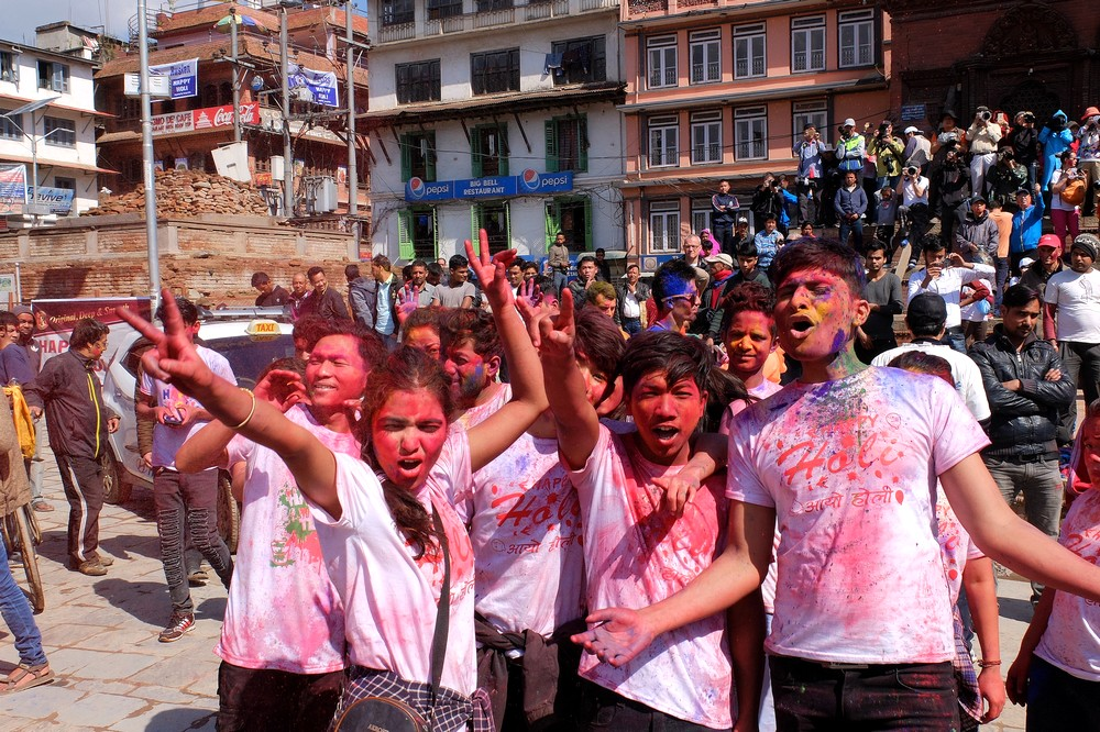 Youngsters celebrating Holi - Kathmandu - Holi in Nepal