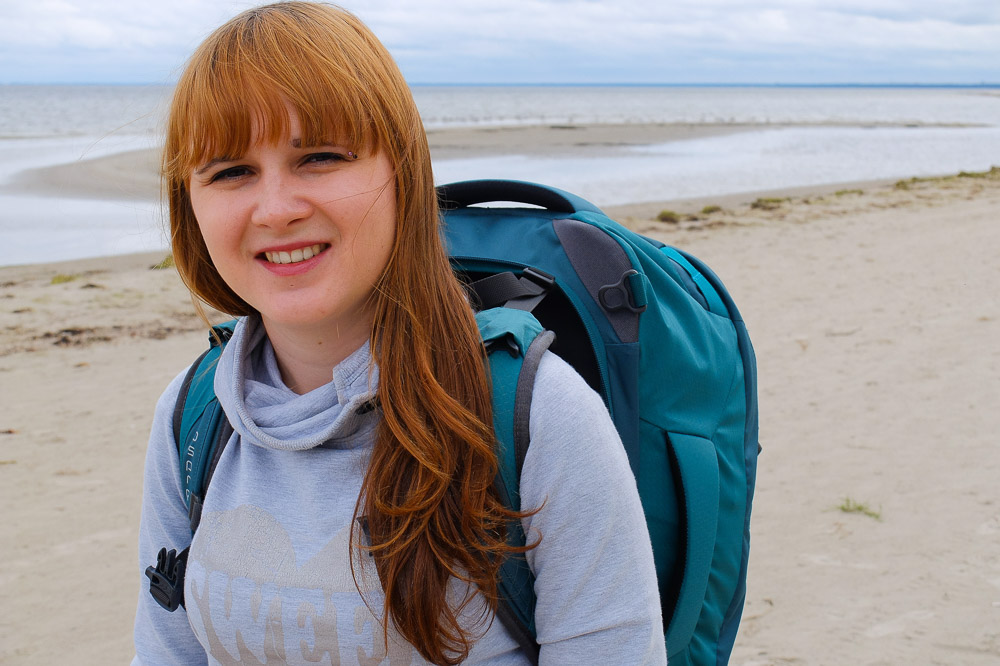 Una with her Osprey Fairview 40 backpack - Osprey Fairview 40 Review