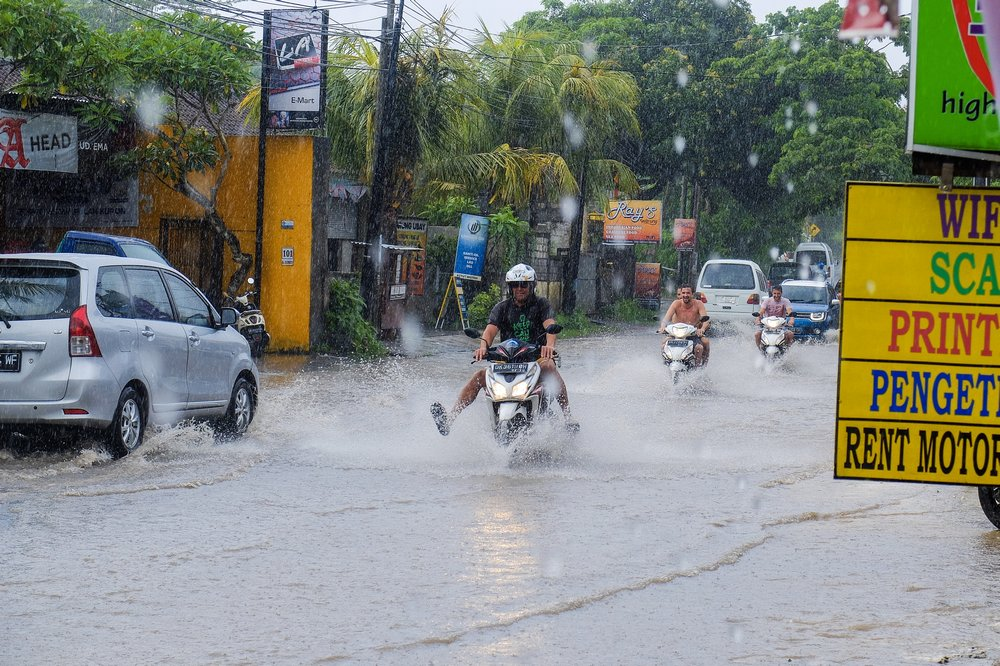 Flooded street in Bali - My Long Journey to Thailand