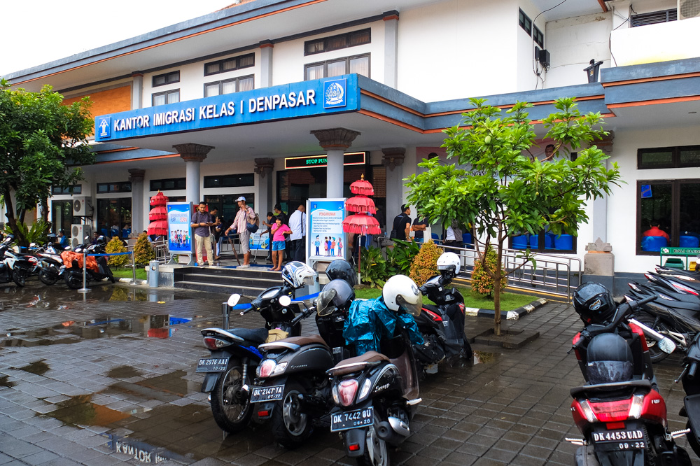 Parking at immigration office in Denpasar, Bali - Visa on Arrival in Indonesia