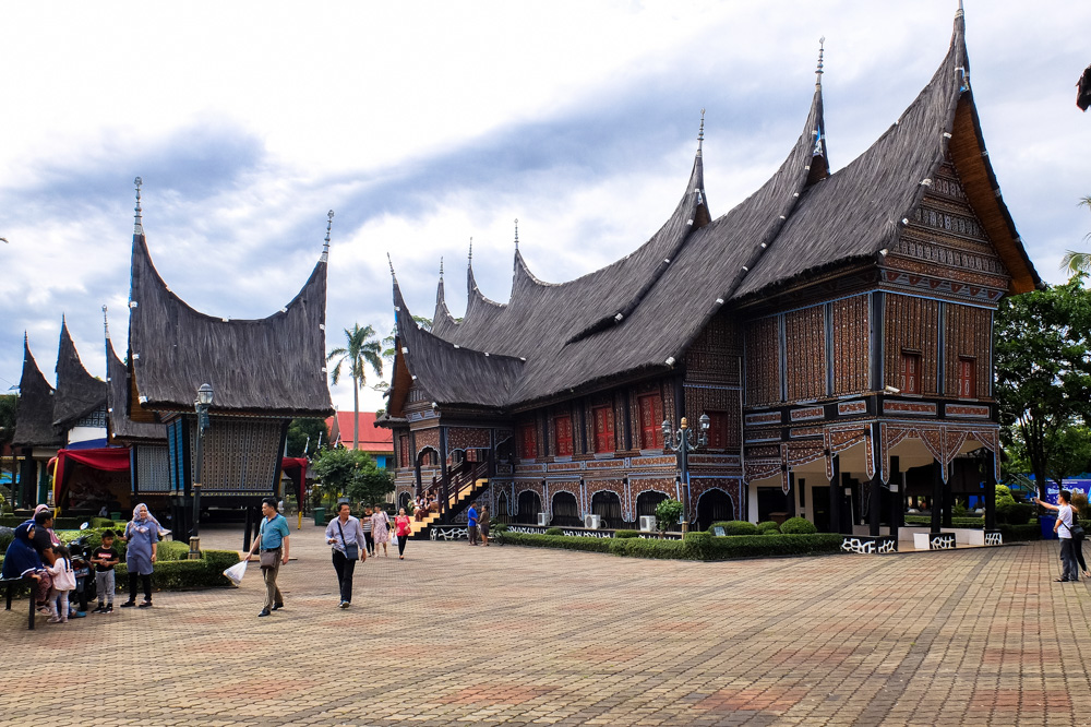 Traditional Indonesian houses in Taman Mini Indonesia - Singapore - Java - Bali itinerary