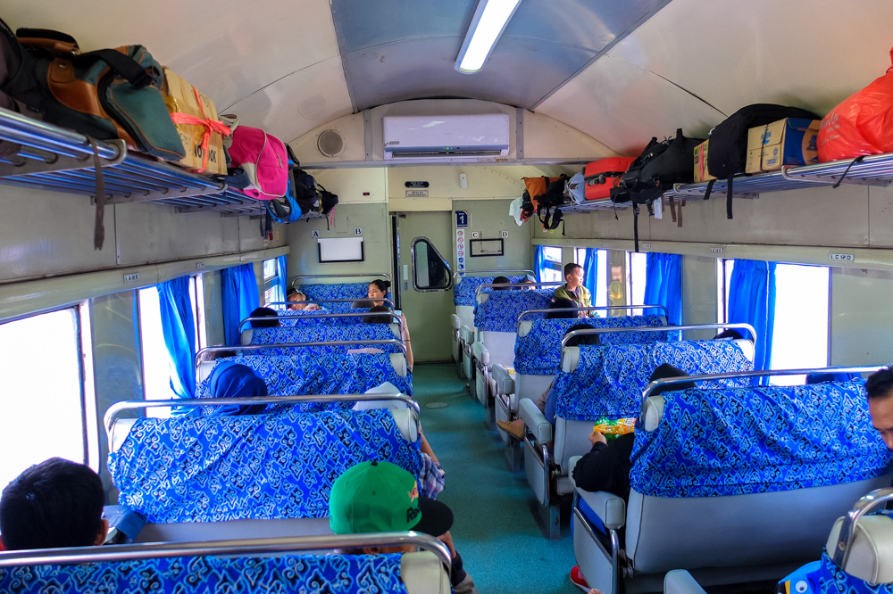 Train in Indonesia - Business class ( there is also Economy class, which is worse, and Executive class which is better) - Singapore - Java - Bali itinerary