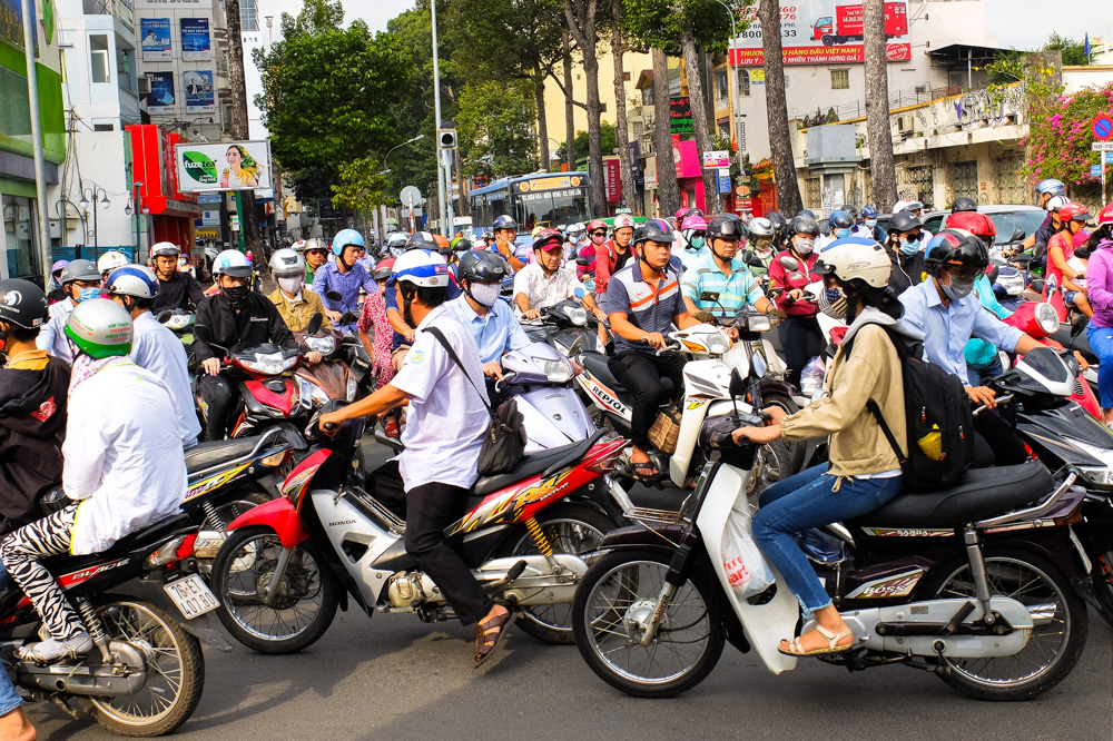 A lot of bikes on the road in Ho Chi Minh City - Vietnam Photo Story