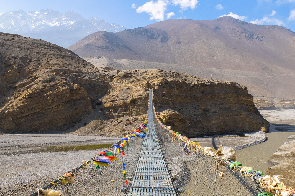 A suspension bridge in Himalayas - Annapurna Circuit Photos