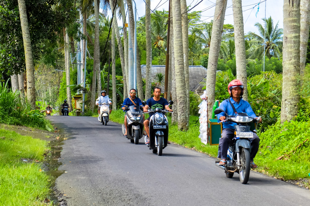 Motorbikers on a rural road in Bali - Riding a Scooter in Bali