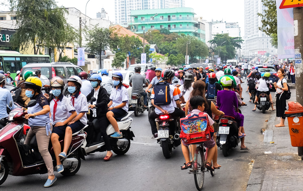 Scooters driving in all directions in Ho Chi Minh City - Vietnam Photo Story