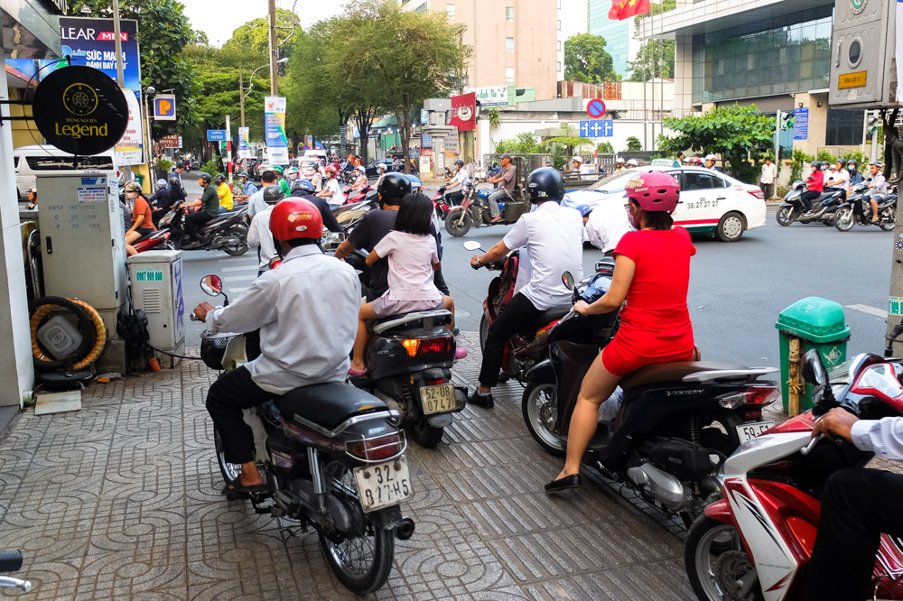Scooters on the sidewalk in Ho Chi Minh City - Vietnam Photo Story
