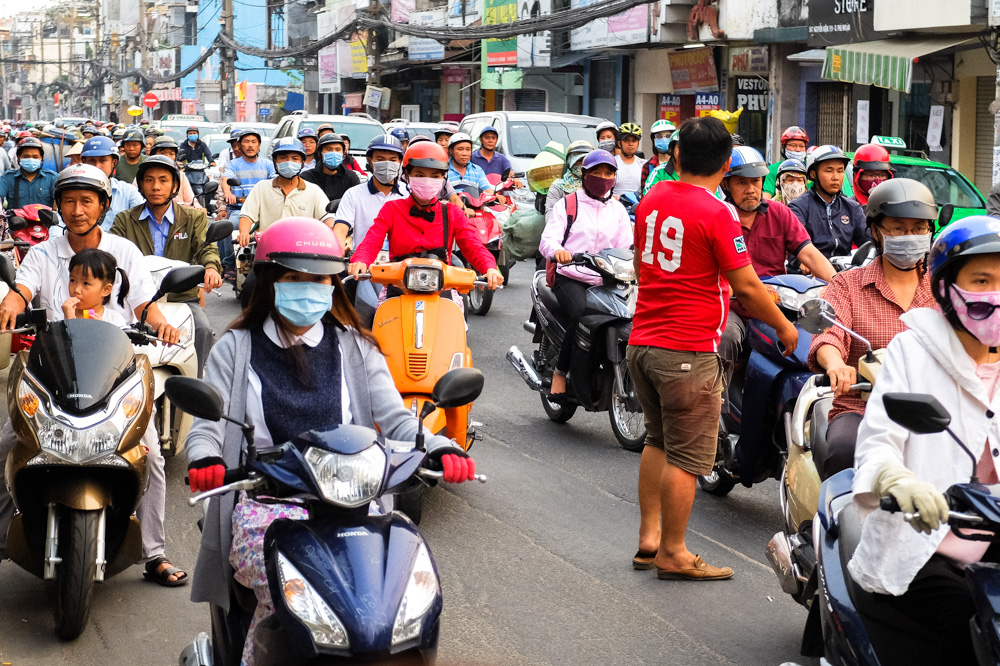 Tens of scooters in Ho Chi Minh City - Vietnam Travel Tips