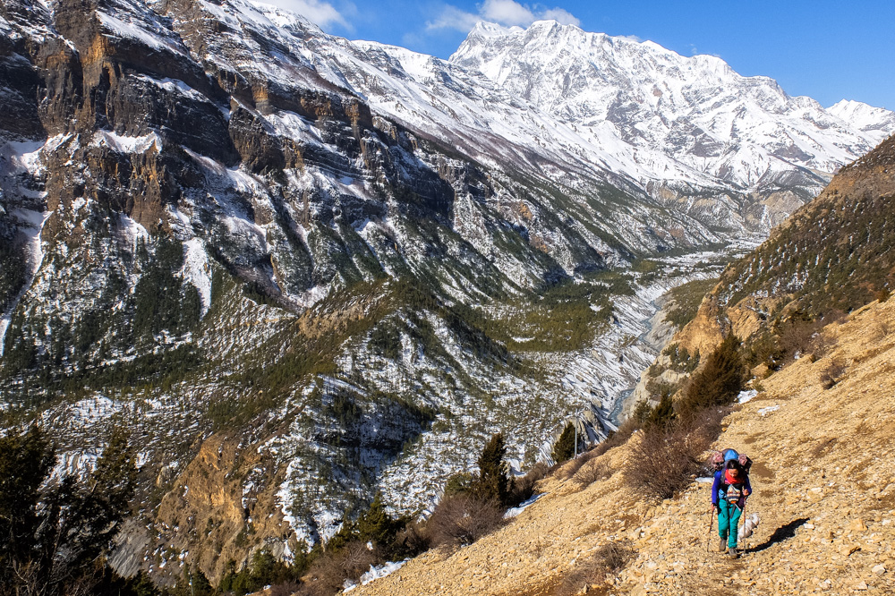 Trekking near Upper Pisang - Annapurna Circuit Photos