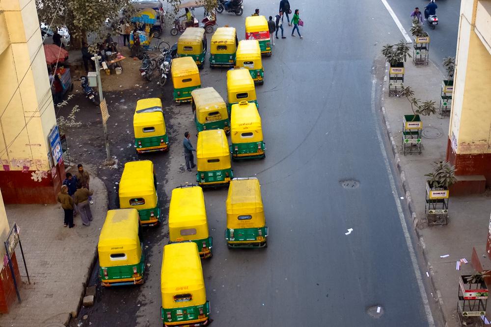 Tuk tuks in Delhi, India - Overland Journey in India