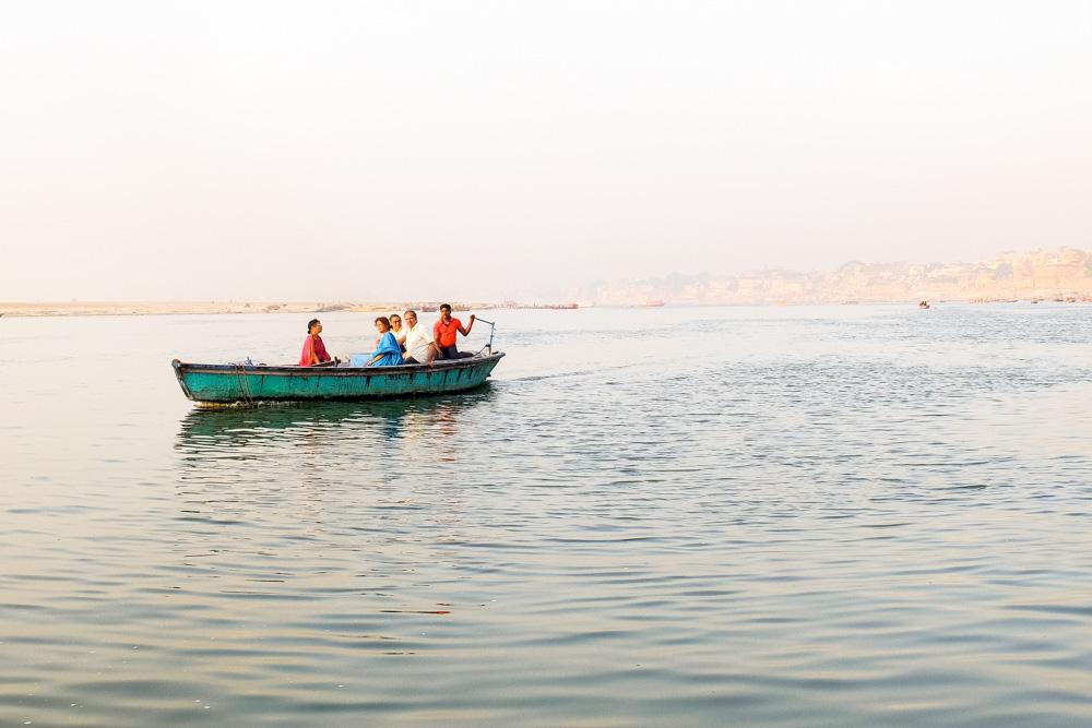 A boat in river Ganges in Varanasi - 4 weeks in India