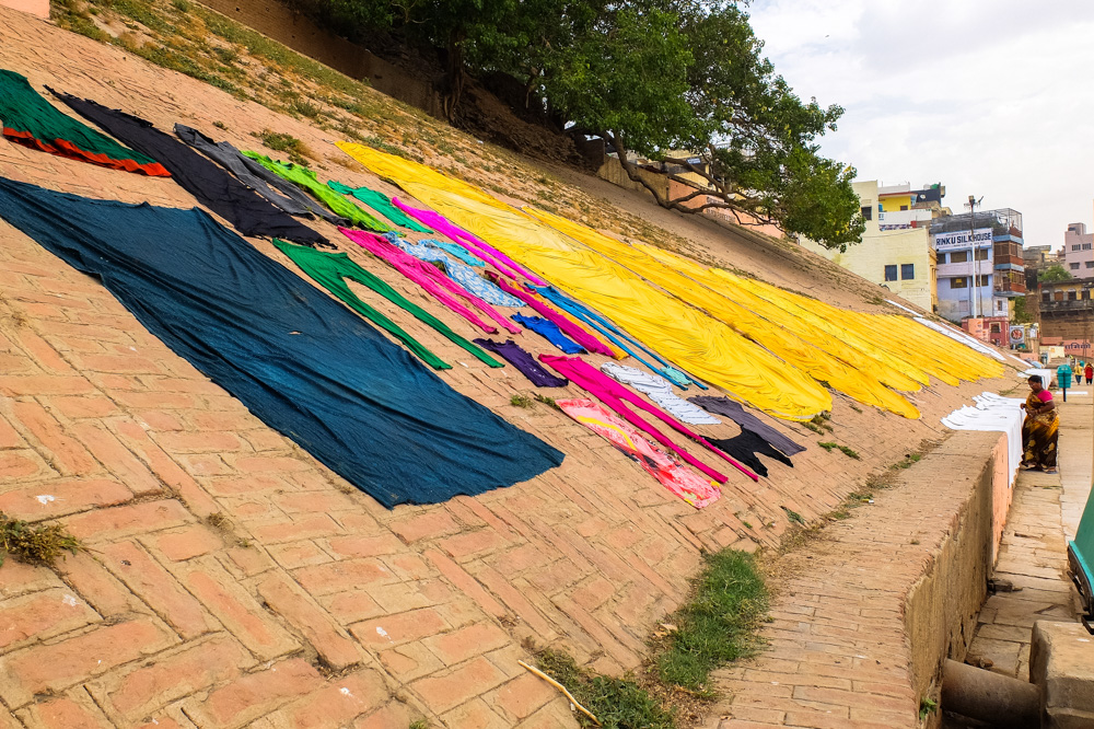 Clothes drying on the ground in Varanasi - 4 weeks in India