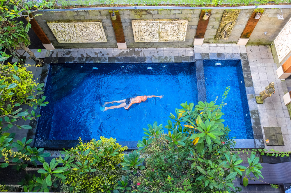 Kaspars swimming in the pool in Ubud, Bali - Best Things to Do in Bali