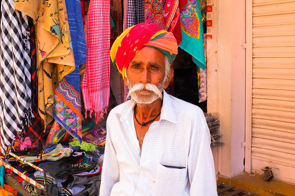 Man with a colorfulg turban in Jaisalmer - 4 Weeks in India