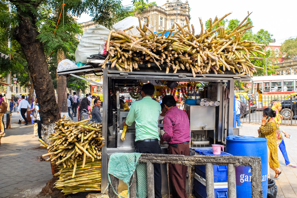 Sugar cane juice stand in central Mumbai - 4 Weeks in India