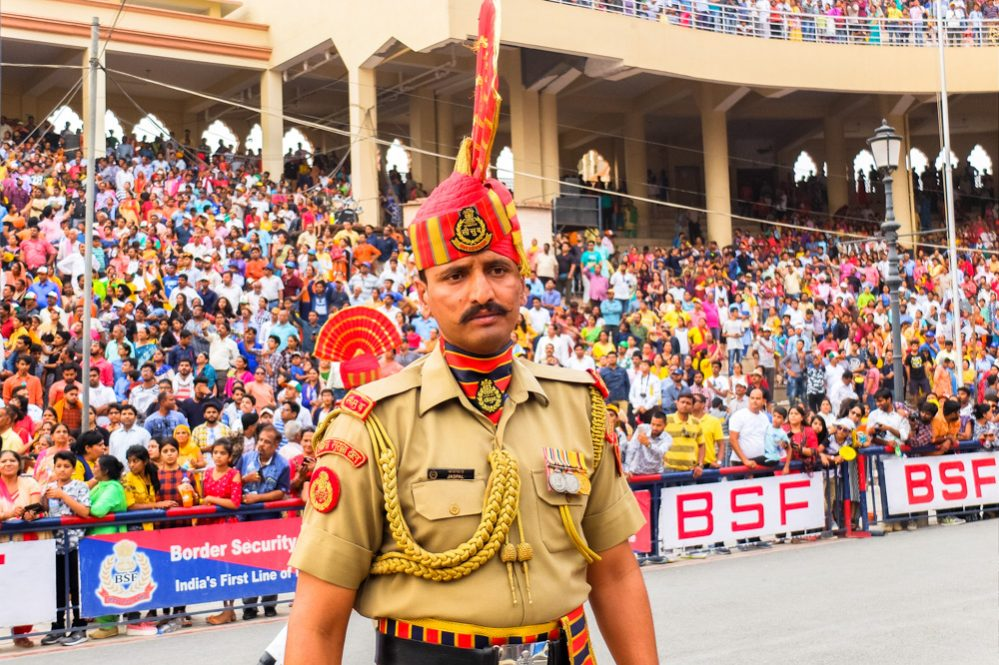 Soldier at Wagah border closing ceremony - 4 Weeks in India