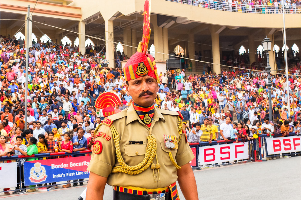 A soldier at Wagah border closing ceremony which we visited during our 4 weeks in India