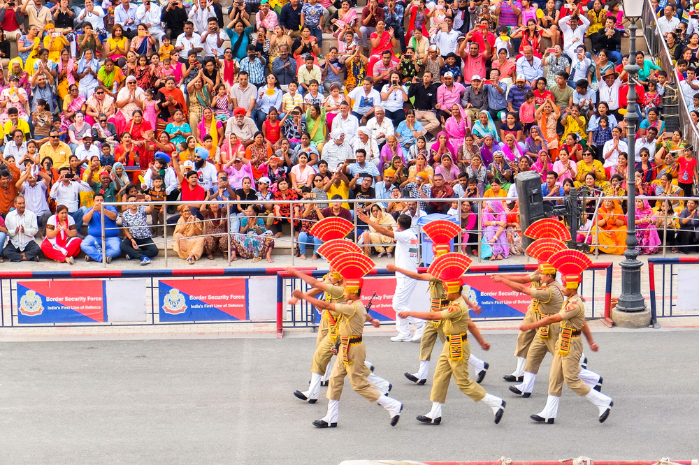 Soldiers marching at Wagah border closing ceremony in India - 4 Weeks in India