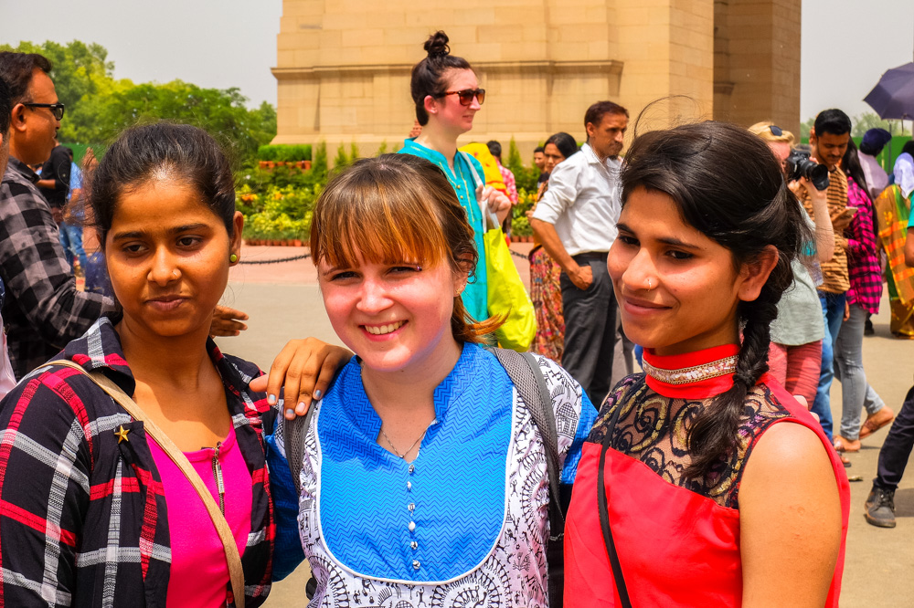 Taking a photo with girls - 4 weeks in India