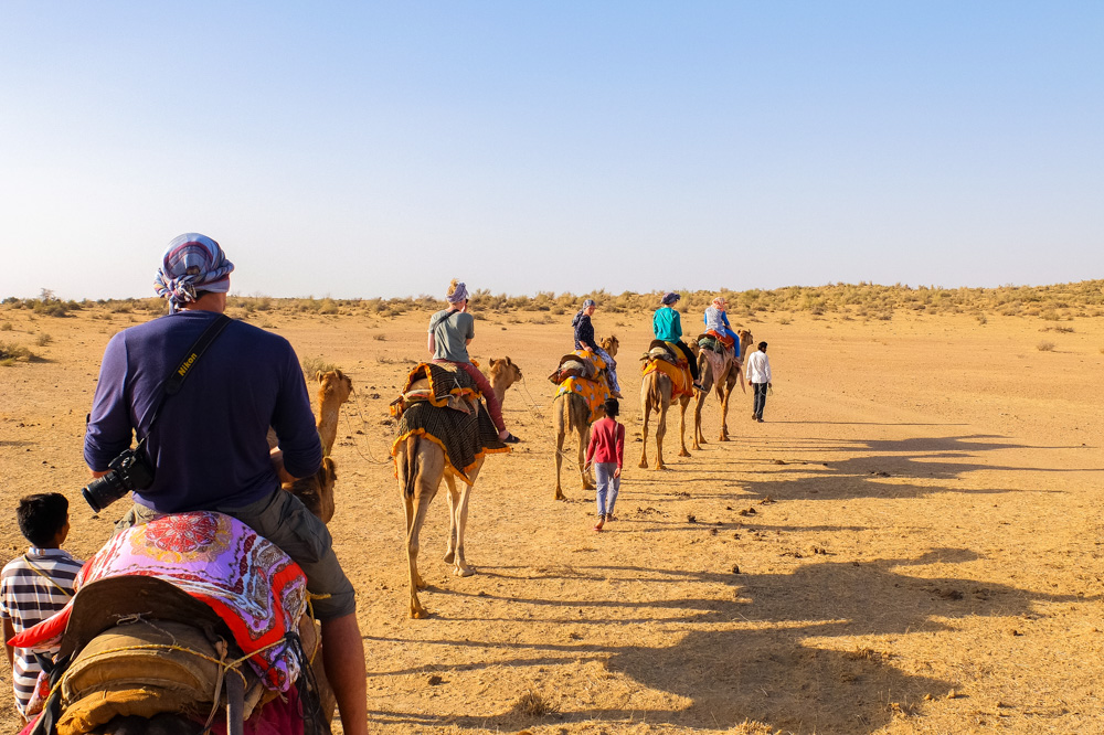 Riding camels into the desert - Our Jaisalmer Desert Safari Experience