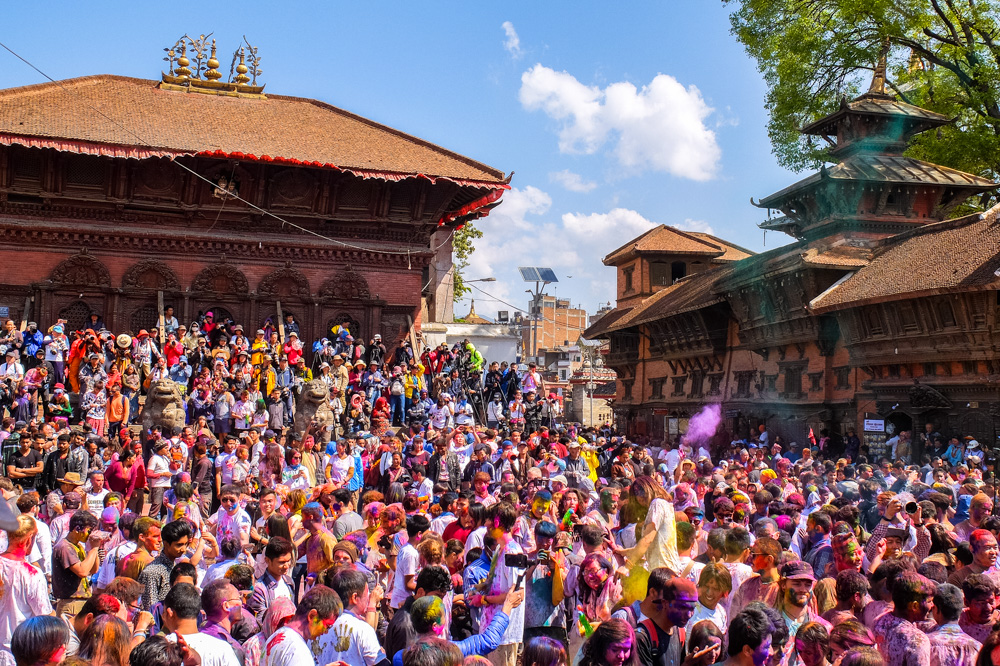 A crowd of people in Durbar Square, Kathmandu - Holi 2017
