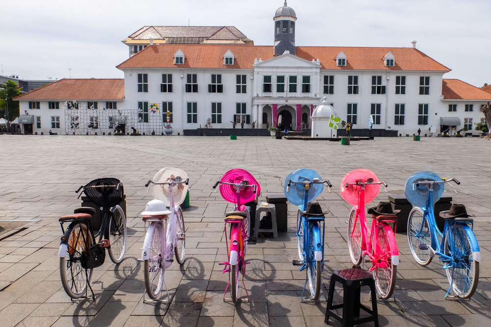 Bicycles in Kota, Jakarta's old town_