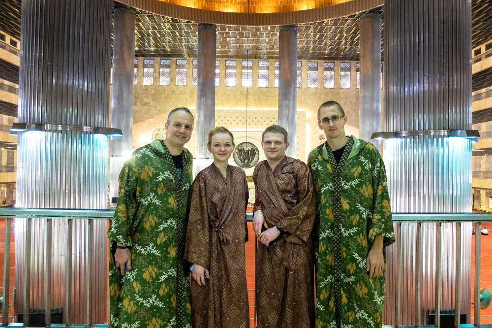Kaspars with friends in Istiqlal Mosque in Jakarta