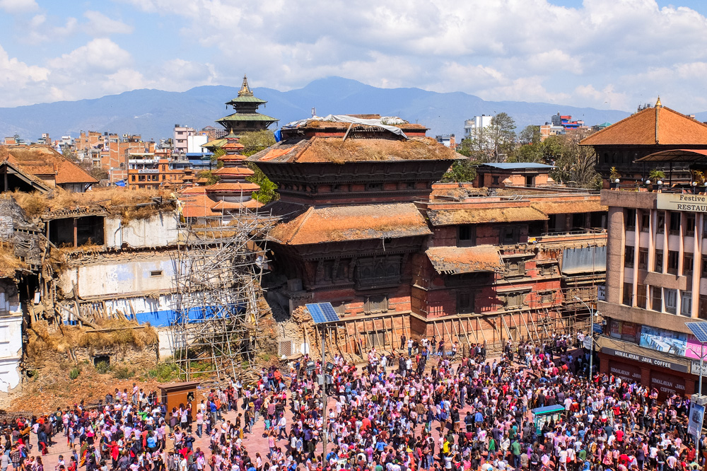 People in Durbar Square, Kathmandu - Holi 2017