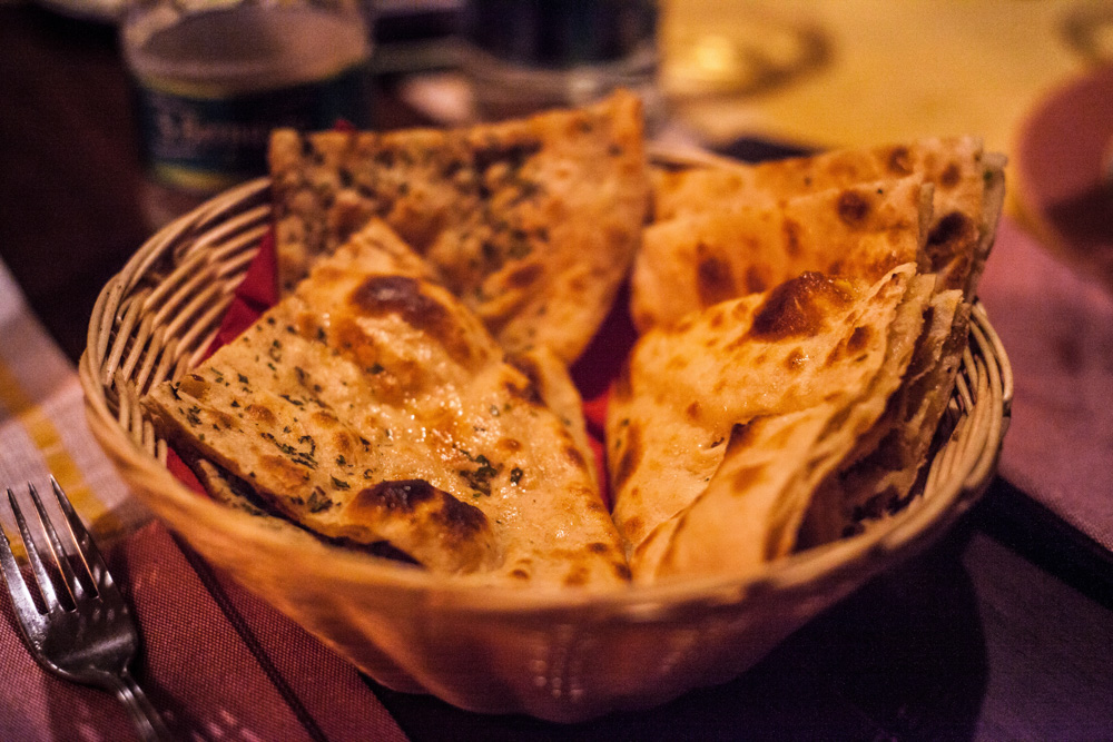 Basket of baked flatbread