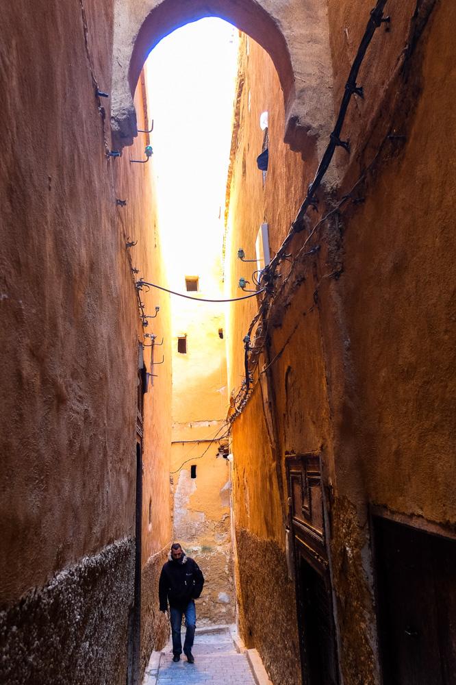 Narrow street of Fez medina