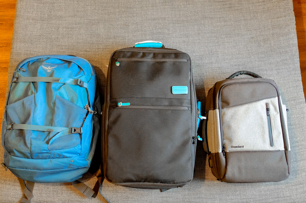 Osprey Farpoint 40 vs Standard Carry On vs Standard Daily