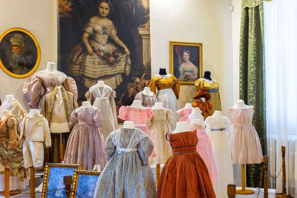 Vintage dresses on display in Rokiskis Manor